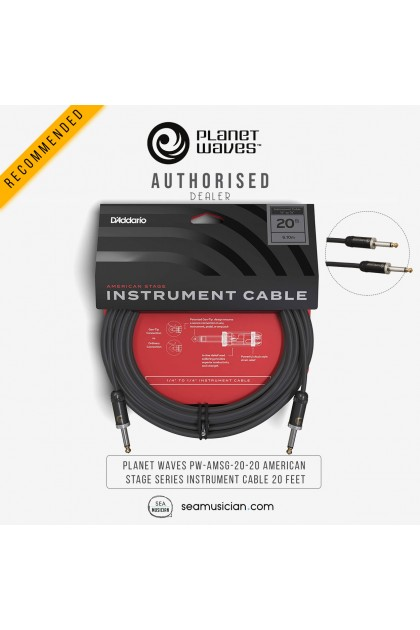 PLANET WAVES PW-AMSG-20-20 AMERICAN STAGE SERIES INSTRUMENT CABLE 20 FEET