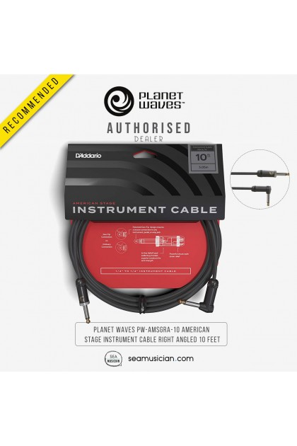 PLANET WAVES PW-AMSGRA-10 AMERICAN STAGE INSTRUMENT CABLE RIGHT ANGLED 10 FEET