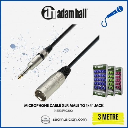 ADAM HALL CABLE K3BMV0300 MICROPHONE CABLE XLR MALE TO 1/4