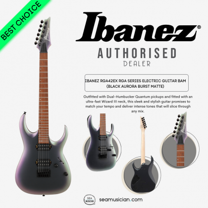 IBANEZ RGA42EX RGA SERIES ELECTRIC GUITAR BAM (BLACK AURORA BURST MATTE)