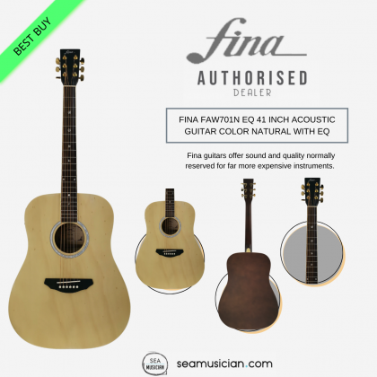 FINA FAW701N EQ 41 INCH ACOUSTIC GUITAR COLOR NATURAL WITH EQ