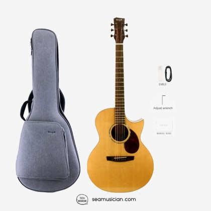 ENYA EAQ1E Q1 SERIES 41 INCH ACOUSTIC GUITAR WITH GREY BAG, WRENCH,PICKGUARD,CABLE