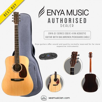 ENYA EDQ1E Q1 SERIES 41 INCH ACOUSTIC GUITAR, DREADNOUGHT BODY WITH GREY BAG, WRENCH,PICKGUARD,CABLE