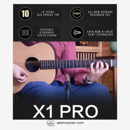 ENYA EMX1 PROe PRO SERIES HPL 36 INCH  ACOUSTIC GUITAR WITH BAG & ACCESSORIES