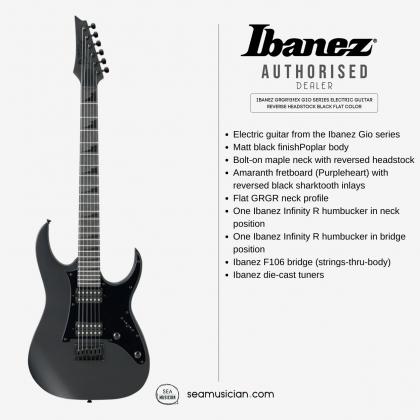 IBANEZ GRGR131EX GIO SERIES ELECTRIC GUITAR REVERSE HEADSTOCK BLACK  FLAT COLOR