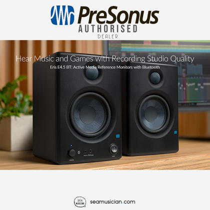 "PRESONUS ERIS E4.5 BT 4.5 INCH POWERED 50 WATT STUDIO MONITORS WITH BLUETOOTH (4.5""/ WOVEN COMPOSITE WOOFER/ 1"" SILK-DOME TWEETER)"