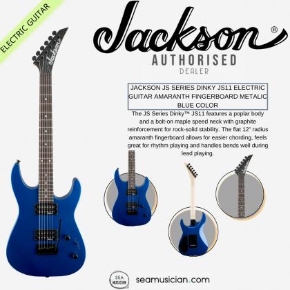 JACKSON JS SERIES DINKY JS11 ELECTRIC GUITAR AMARANTH FINGERBOARD METALIC BLUE COLOR (JS 11/ JS-11)