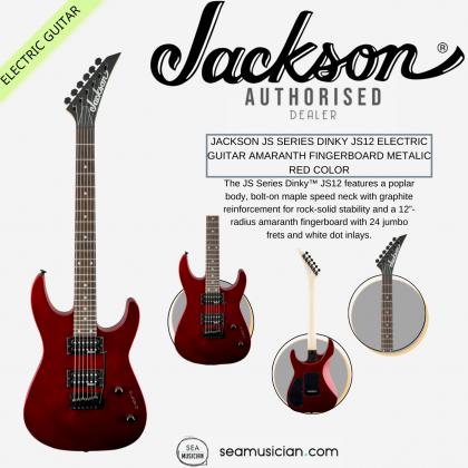 JACKSON JS SERIES DINKY JS12 ELECTRIC GUITAR AMARANTH FINGERBOARD METALIC RED COLOR (JS 12 / JS-12)
