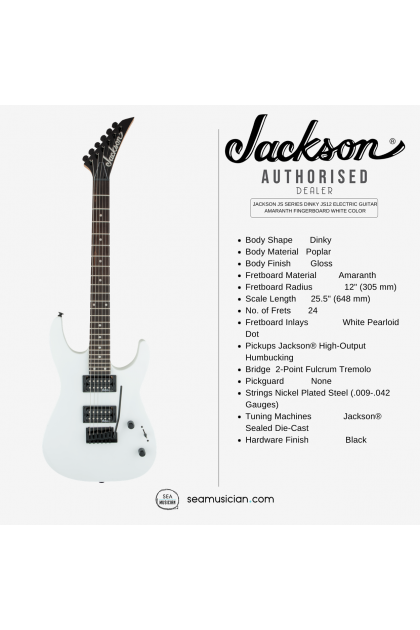 JACKSON JS SERIES DINKY JS12 ELECTRIC GUITAR AMARANTH FINGERBOARD WHITE COLOR (JS 12/ JS-12/ SOLID BODY ELECTRIC GUITAR)