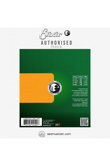 ELIXIR 114502 80/20 BRONZE (045-100) 4-STRING ACOUSTIC BASS STRING (NANOWEB COATING/ LONG SCALE, LIGHT)