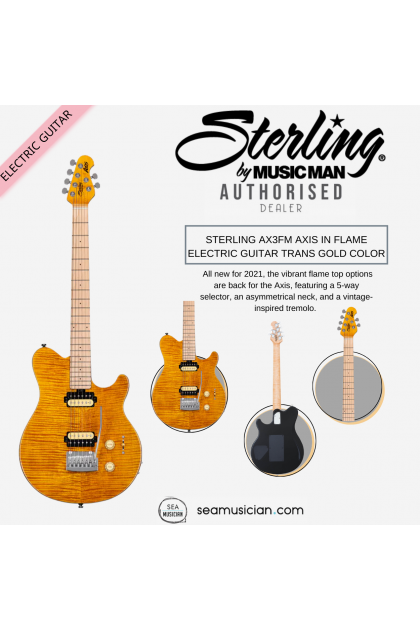 STERLING AX3FM AXIS IN FLAME ELECTRIC GUITAR TRANS GOLD COLOR ( AX3 FM/ TRANSPARENT GOLD/ TGD)