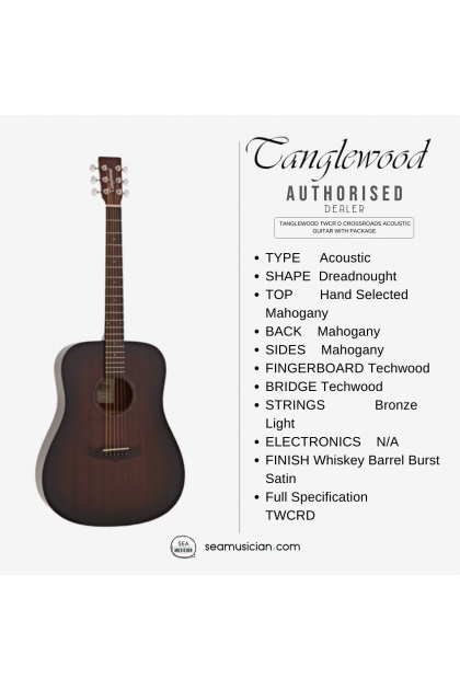 TANGLEWOOD TWCR D CROSSROADS ACOUSTIC GUITAR WITH PACKAGE - WHISKEY BARREL BURST SATIN COLOR (TWCRD/ TWCR D/ TWCR-D)