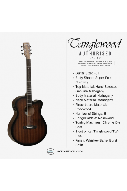 TANGLEWOOD TWCR D CROSSROADS ACOUSTIC GUITAR CUTAWAY WITH PACKAGE - WHISKEY BARREL BURST SATIN COLOR (TWCR D/ TWCR-D)