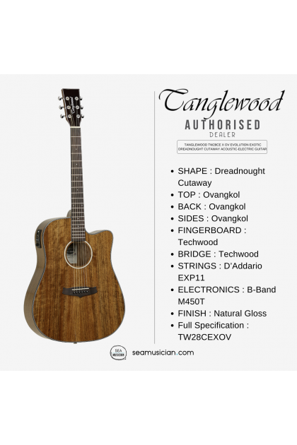 TANGLEWOOD TW28CE X OV EVOLUTION EXOTIC OVANGKOL DREADNOUGHT CUTAWAY ACOUSTIC-ELECTRIC GUITAR WITH PICKUP
