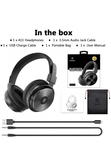 ONEODIO A11 SUPER BASS BLUETOOTH 5.0 WIRELESS HEADPHONE NOISE CANCELLING CLOSED BACK OVER EAR 50MM DRIVER GAMING DJ BROADCASTING STREAMING MUSIC STUDY TRAVEL SPORT (HEAD PHONE/ A 11/ ONE AUDIO)