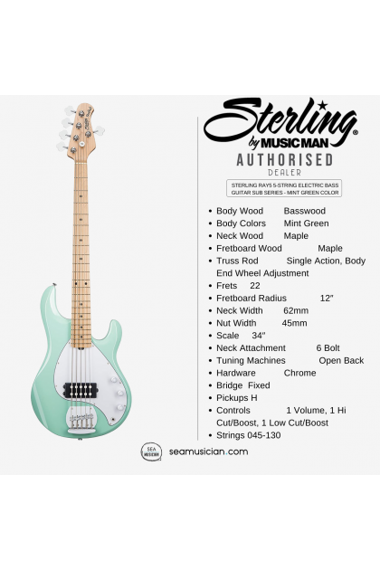 STERLING RAY5 5-STRING ELECTRIC BASS GUITAR SUB SERIES - MINT GREEN COLOR (RAY-5/ RAY 5)