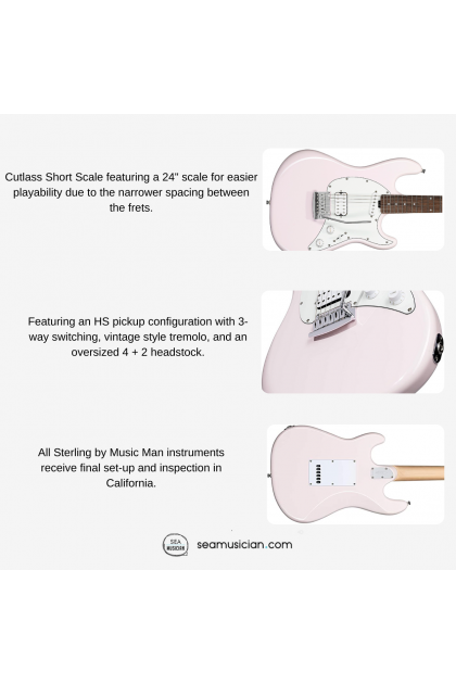 STERLING CTSS30HS CUTLASS ELECTRIC GUITAR SHORT SCALE SHELL PINK COLOR (CTSS-30HS/ CTSS 30HS)