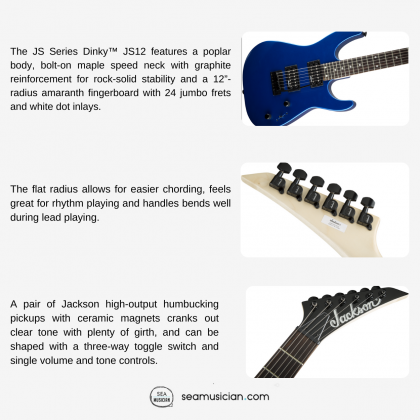 JACKSON JS SERIES DINKY JS12 ELECTRIC GUITAR AMARANTH FINGERBOARD - METALIC BLUE COLOR