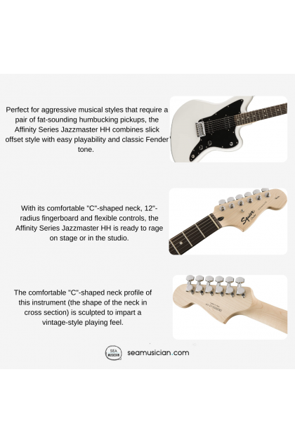 SQUIER AFFINITY SERIES JAZZMASTER HH  ELECTRIC GUITAR WITH INDIAN LAUREL FINGERBOARD - ARCTIC WHITE COLOR