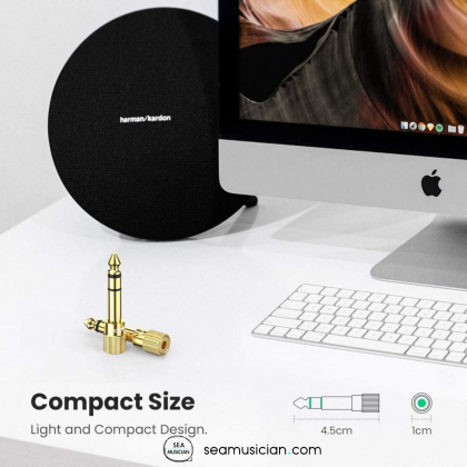 NEOWOOD CON01 STEREO JACK ADAPTER GOLD PLATED 6.35MM (1/4 INCH) MALE TO 3.5MM (1/8 INCH) FEMALE