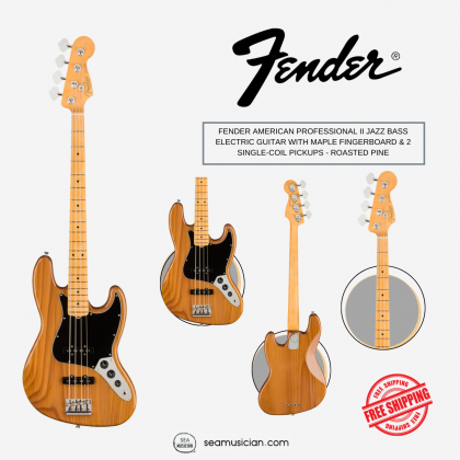 FENDER AMERICAN PROFESSIONAL II JAZZ BASS ELECTRIC GUITAR WITH MAPLE FINGERBOARD & 2 SINGLE-COIL PICKUPS - ROASTED PINE