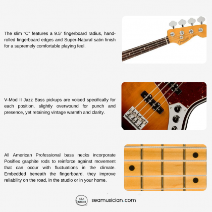 FENDER AMERICAN PROFESSIONAL II JAZZ BASS ELECTRIC GUITAR WITH ROSEWOOD FINGERBOARD AND MAPLE NECK - 3-COLOR SUNBURST