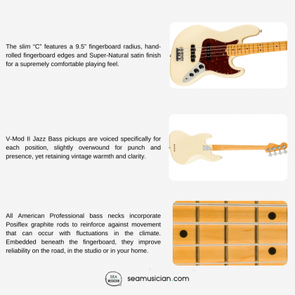 FENDER AMERICAN PROFESSIONAL II JAZZ BASS ELECTRIC GUITAR WITH MAPLE FINGERBOARD&2 SINGLE-COIL PICKUPS - OLYMPIC WHITE