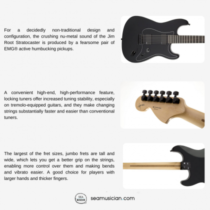 FENDER ARTIST JIM ROOT STRATOCASTER ELECTRIC GUITAR WITH EBONY FINGERBOARD AND 2 HUMBUCKING PICKUPS - FLAT BLACK COLOR