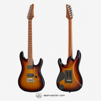IBANEZ PRESTIGE AZ2402 ELECTRIC GUITAR WITH ROASTED MAPLE NECK AND 2 HUMBUCKING PICKUPS - TRI BURST FADE FLAT COLOR