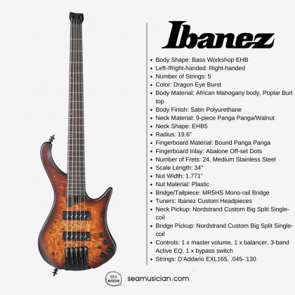 IBANEZ BASS WORKSHOP EHB1505 ELECTRIC BASS GUITAR - DRAGON EYE BURST FLAT