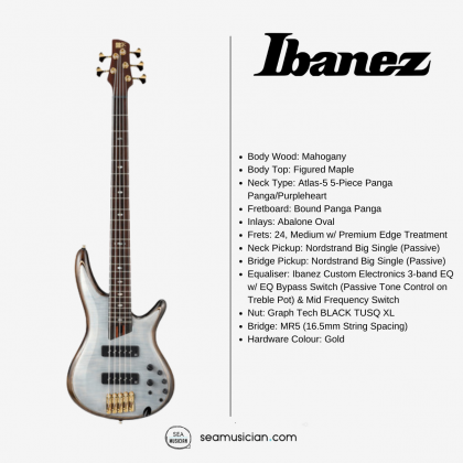 IBANEZ SR1405-GWH MAHOGANY BODY 5 STRING SR PREMIUM SERIES ELECTRIC BASS GUITAR - GLACIAL WHITE