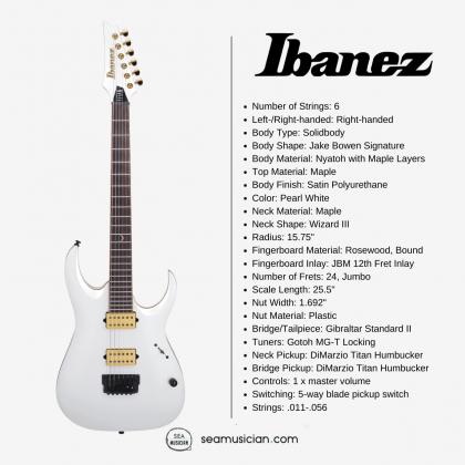 IBANEZ JAKE BOWEN SIGNATURE JBM10FX WITH NYATOH BODY AND 2 HUMBUCKING PICKUPS - PEARL WHITE MATTE COLOR