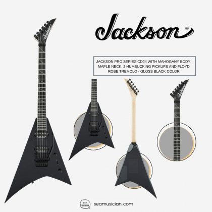 JACKSON PRO SERIES CD24 WITH MAHOGANY BODY, MAPLE NECK, 2 HUMBUCKING PICKUPS AND FLOYD ROSE TREMOLO - GLOSS BLACK COLOR