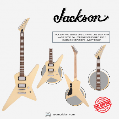 JACKSON PRO SERIES GUS G. SIGNATURE STAR WITH MAPLE NECK, PAU FERRO FINGERBOARD AND 2 HUMBUCKING PICKUPS - IVORY COLOR