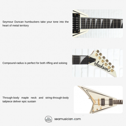 JACKSON PRO SERIES RHOADS RRT3 ELECTRIC GUITAR WITH 2 HUMBUCKING PICKUPS & FIXED TAILPIECE - IVORY WITH BLACK PINSTRIPES