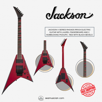 JACKSON X SERIES RHOADS RRX24 ELECTRIC GUITAR WITH LAUREL FINGERBOARD AND 2 HUMBUCKING PICKUPS - RED  WITH BLACK BEVELS