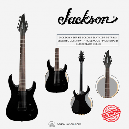 JACKSON X SERIES SOLOIST SLATHX3-7 7-STRING ELECTRIC GUITAR WITH ROSEWOOD FINGERBOARD - GLOSS BLACK COLOR