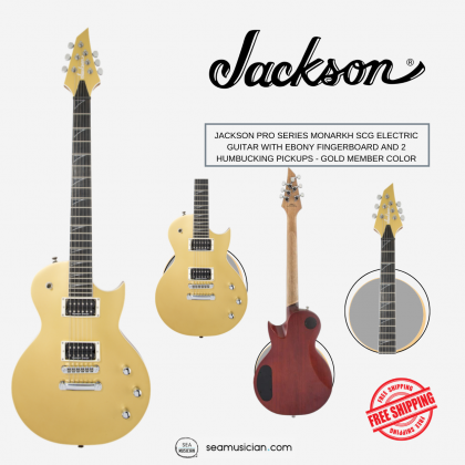 JACKSON PRO SERIES MONARKH SCG ELECTRIC GUITAR WITH EBONY FINGERBOARD AND 2 HUMBUCKING PICKUPS - GOLD MEMBER COLOR
