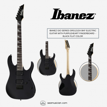 IBANEZ GIO SERIES GRG121DX BKF ELECTRIC GUITAR WITH PURPLEHEART FINGERBOARD AND 2 HUMBUCKING PICKUPS - BLACK FLAT COLOR