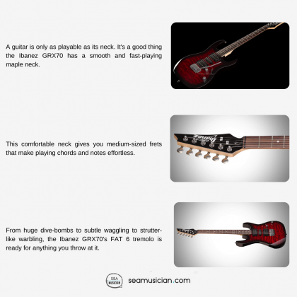 IBANEZ GIO GRX70QA ELECTRIC GUITAR WITH BASSWOOD BODY AND 2 HUMBUCKING PICKUPS - TRANSPARENT RED BURST COLOR