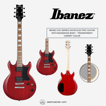 IBANEZ GIO SERIES GAX30 ELECTRIC GUITAR WITH BASSWOOD BODY, MAPLE NECK AND JATOBA FINGERBOARD - TRANSPARENT CHERRY COLOR