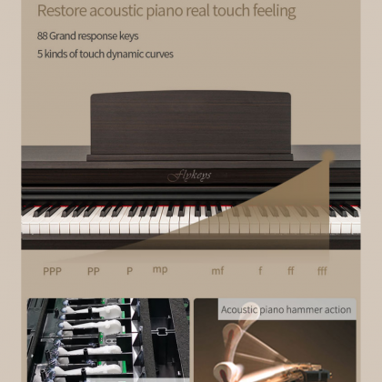 FLYKEYS LK03S-RW 88-KEY DIGITAL PIANO ROSEWOOD INCLUDES BENCH, USB CABLE, HEADPHONE, CLEANING CLOTH, KEY POLISH