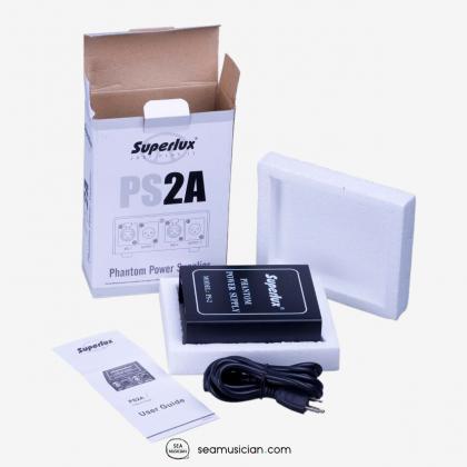 SUPERLUX PS2A PHANTOM POWER SUPPLY (UP TO 2 CONDENSER MICS 48-52V)