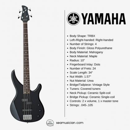 YAMAHA TRBX174 BK 4 STRING ELECTRIC BASS GUITAR - BLACK