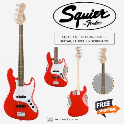 SQUIER AFFINITY JAZZ BASS GUITAR, LAUREL FINGERBOARD, RACE RED