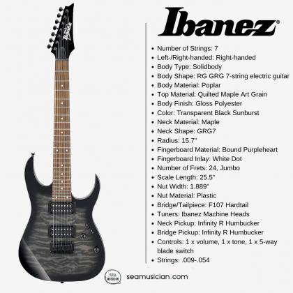 IBANEZ GIO SERIES GRG7221QA TKS 7 STRING ELECTRIC GUITAR TRANSPARENT BLACK SUNBURST