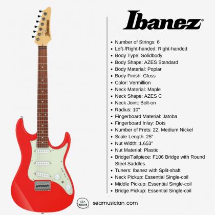 IBANEZ AZ ESSENTIAL ELECTRIC GUITAR AZES31 VM VERMILLION