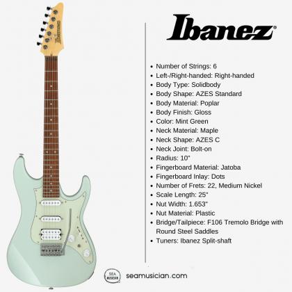 IBANEZ AZ ESSENTIAL ELECTRIC GUITAR AZES40 MGR (HSS) MINT GREEN