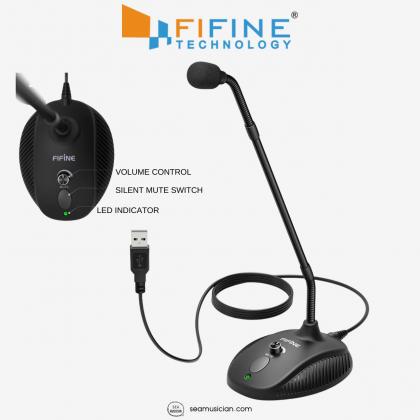 FIFINE K052 USB GOOSENECK MICROPHONE WITH GAIN KNOB & MUTE BUTTON (NON-DETACHABLE CABLE)