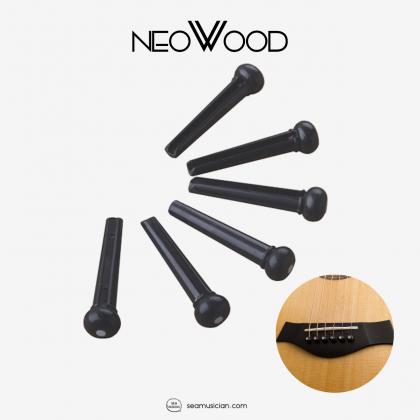 NEOWOOD GXZ01 PLASTIC BRIDGEPIN/ENDPIN BLACK 6 PIECES - ONE PACK